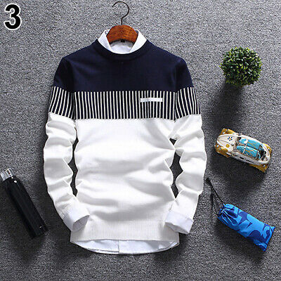 Men's Autumn Fashion Casual Strip Color Block Knitwear Jumper Pullover Sweater a