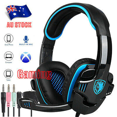 SA708GT 3.5mm Gaming MIC Headphones Surround for PC Laptop PS4 Xbox One AU G1E1