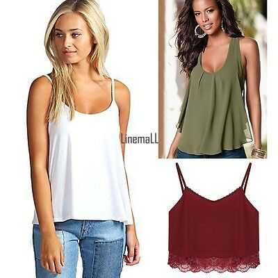 Hot Womens Ladies Cami Sleeveless Swing Vest Top Strappy Plain Flared Plus LM