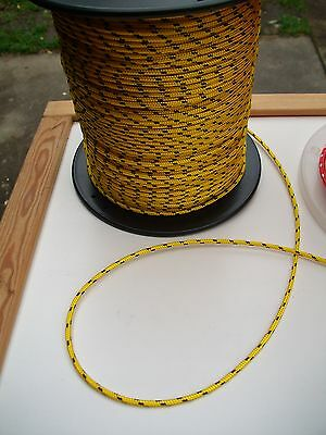 8m X 3mm YELLOW DOUBLE BRAID WITH DYNEEMA® CORE, YACHT & MARINE ROPE tens:320kg
