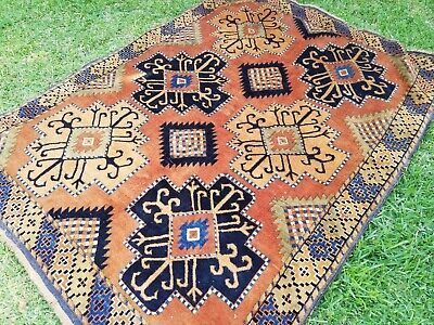 Antique brown and khaki wool Persian tribal rug; FREE POST