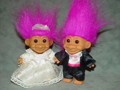 "2 Troll Dolls 4 1/2"" Russ Wedding Party Bride and Groom Purple Hair B2"