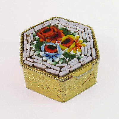 Vintage Brass/Gold Plated Mosaic Tile Handmade Floral Top Pillbox Snuff Box