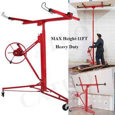 Caster Drywall Lift Panel 11ft Hoist Celling Plaster Board Lifter Construct Tool
