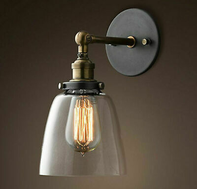 Industrial Style Clear Glass Wall Lamp Antique Brass Vintage Sconce Light Modern