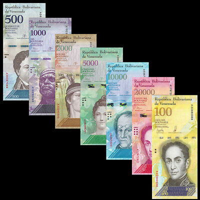 Venezuela Set 7 PCS, 500 1000 2000-20000 100000 Bolivares, 2016(2017), P-NEW,UNC