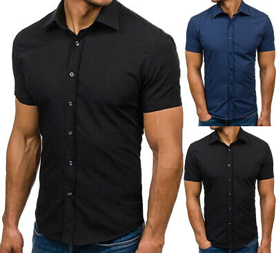 Men Slim Fit V Neck Muscle Tee T-shirt Casual Formal Business Shirts Tops Blouse