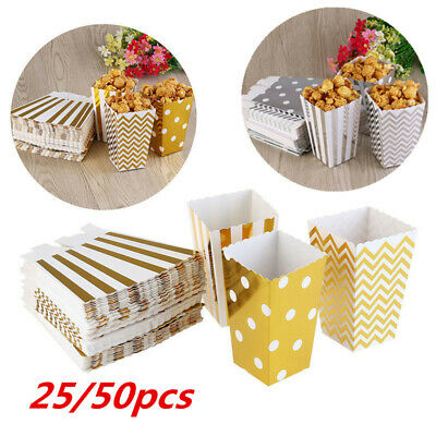50x Popcorn Boxes Movie Pack Hollywood Birthday Party Home Cinema Paper Bags Fun