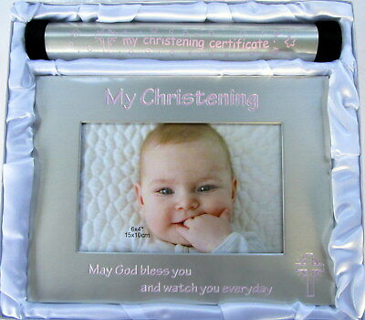 "Baby Girl ""my Christening Certificate"" Holder & ""my Christening"" Photo Frame Bn"