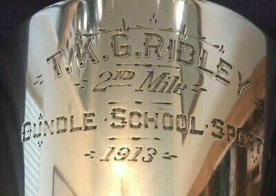 1913 Oundle School Northampton silver plate trophy, trophies, loving cup, trophy