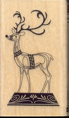 CHRISTMAS DEER WREATH Wood Mounted Rubber Stamp by INKADINKADO NEW 2015