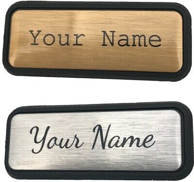 Personalised Name Badge 47mmx16mm small BADGES Pin or Magnet Back Custom Print