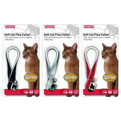 Beaphar Glitter Soft Cat Flea Collar 16 Week Protection Black Red Silver Bell