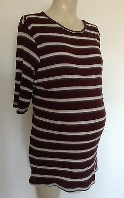 [302] New Look Maternity Brown Striped Top Size 14