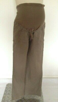 [347] H&M Maternity Brown Linen Trousers Size 10
