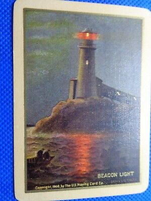 Old Vintage , Beacon Light 1908  By James G Tyler  , Single , Swap Playing Card.