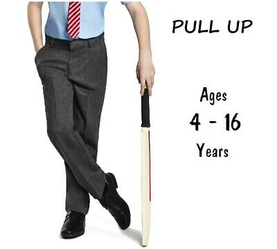 Boys School Trousers Easy Dress Pull Up Pull On Ex Uk Store 3-16 Years Grey