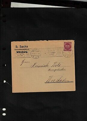 1923 Cover sent from Wurzburg to Wiesbaden