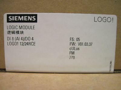 Siemens 6ED1052-1MD00-0BA7 Logic Module Display PS/1/0:12/24VDC Relay LOGO!