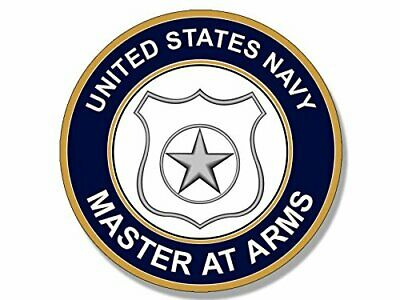 4x4 inch Round US Navy MASTER at ARMS Logo Sticker (Insignia maa Seal)