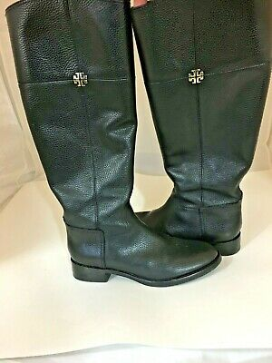 28608a5f1cf Tory Burch 31119 Jolie Black Pebbled Leather Riding Boot Wide Shaft Sz 7.5