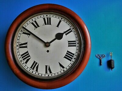#096 TAMESIDE 1940s MAHOGANY CASED FUSEE MOVEMENT SCHOOL/OFFICE WALL CLOCK