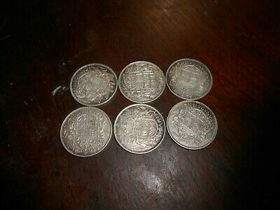 Lot Of 6 Canada/canadian   Half Dollar Coin 50 Cents  1940.41,42.43,44.45