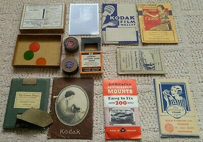 Vintage PHOTOGRAPHY Items CAMERA PRESS, Art Deco Photo Wallets, Glass Negative +