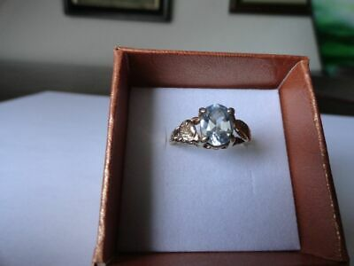 Ring mit Aquamarin, 10K, Gr.52/53