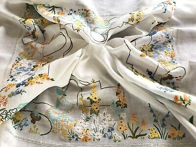 VINTAGE HAND EMBROIDERED Off White LINEN Crinoline Lady TABLECLOTH 60x60 Inches