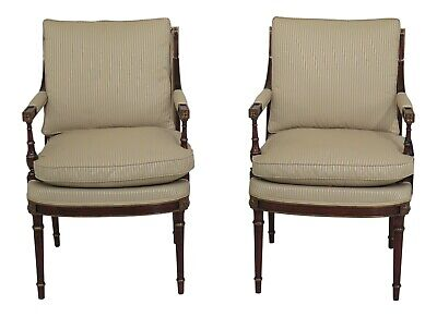 L47034EC: Pair French Louis XVI Mahogany Upholstered Open Arm Chairs ~ NEW