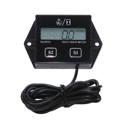 Tach/Hour Meter Digital Tachometer RPM LCD Display For 2/4 Stroke Engines New