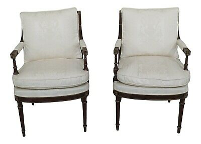 L47032EC: Pair French Louis XVI Mahogany Upholstered Open Arm Chairs ~ NEW