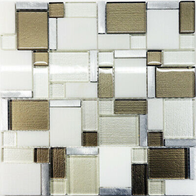 Awesome Gold Textured Glass White Silver Stone Blend Square Mosaic Tile Backsplash Home Interior And Landscaping Ologienasavecom