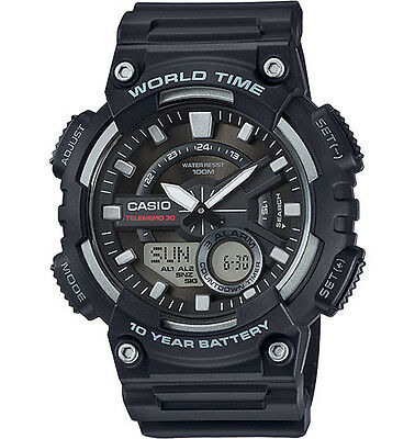 Casio AEQ110W-1AVM  Databank 30 Watch, 100M, 3 Alarms, Chronograph, Resin