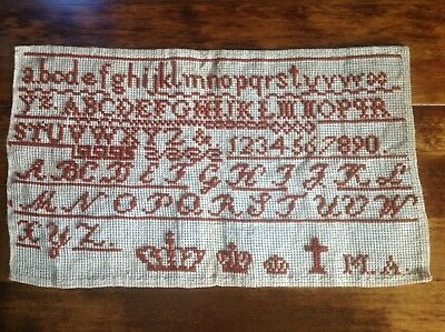 Genuine Antique Cross Stitch Sampler Circa 1880, with Crowns and Cross