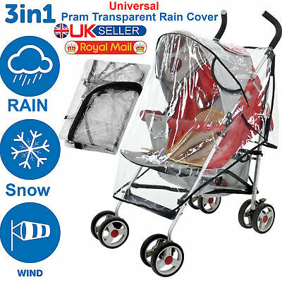 Buggy Rain Cover Universal Pushchair Baby Transparent Stroller Pram Wind Shield.