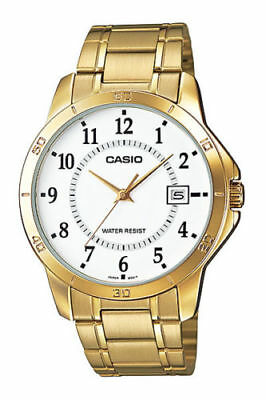 NEW Casio MTP-v004G-7B Men's Stainless Steel GOLD Watch Dial Date ANALOG Display