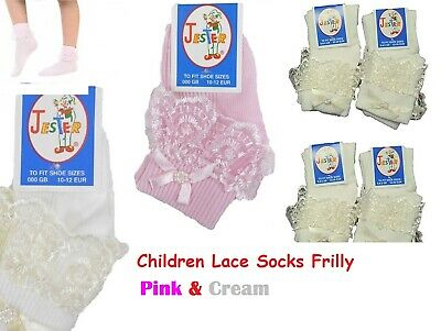 12 Girls Kids Children Cotton Lace Frilly Frills Ankle Socks Pink & Cream