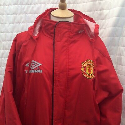 dd2317ae07 Vintage 90's MANCHESTER UNITED RED Managers Bench Jacket Coat Umbro Sharp  Medium