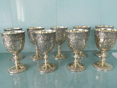 9 Beautiful Vintage Corbell Silver Plated Gilt Lined Embossed Wine Goblets Cups