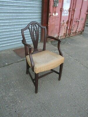 A Single Georgian Style Mahogany Elbow Chair Armchair Carver Arms Solid