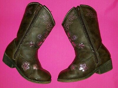 b44cb1b9dc4d81 TODDLER GIRL S SIZE 7 BROWN with PINK RHINESTONES COWBOY WESTERN BOOTS  Cowgirl