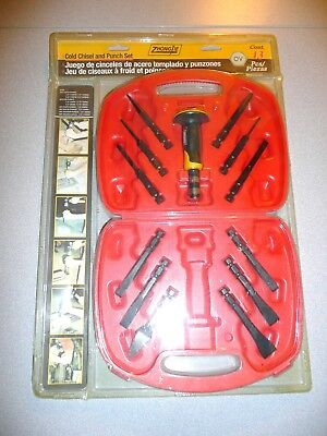 Brand New 13-Piece Cold Chisel And Punch Set With Hand Protecting Handle & Case