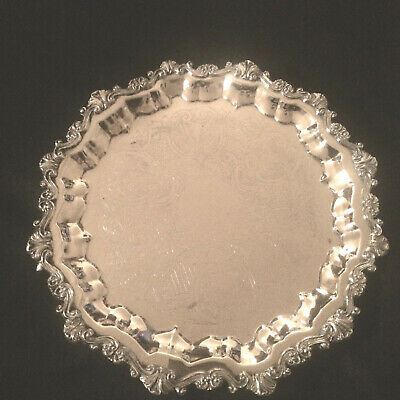 """Large 17"""" Antique Sheridan Footed Ornate Round Silver Plate Serving Butler Tray"""