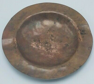 "Vintage Copper Hand Hammered 5"" Diameter Cigar Ashtray Beautiful Patina!"