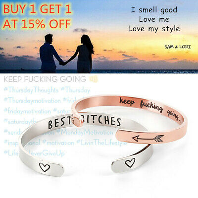 Personalized Cuff Bracelet Letter Engraved Bangle Gifts Keep Fucking Going UKAB