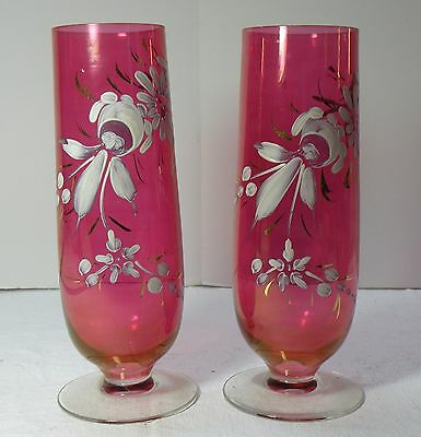 """cc103 PR ANTIQUE MATCHING CRANBERRY GLASS FOOTED VASES 9"""" HIGH"""
