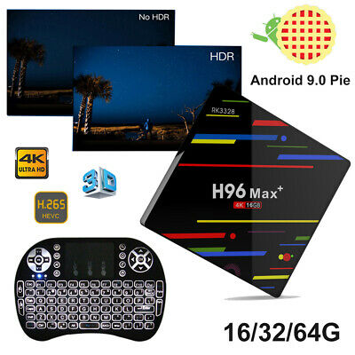 H96 Max+ Android 9.0 Pie 16/32/64G Quad Core WIFI 4K 3D Smart TV Box+Keyboard i8