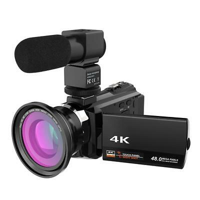 WiFi 4K HD 1080P 48MP 16X ZOOM Digital Video Camera Camcorder+ Microphone+ Lens